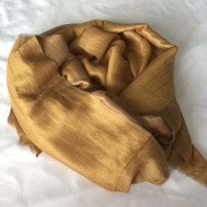Gold Cashmere and Merino wool shawl 7