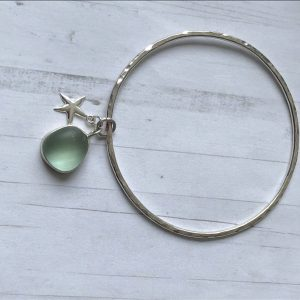 Sterling silver bangle with sea glass charm 8