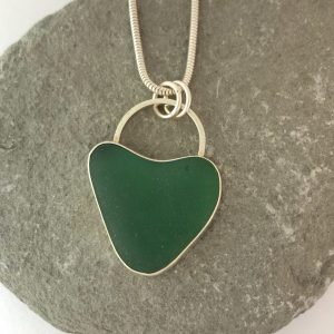 Natural green heart shaped sea glass and silver necklace 1