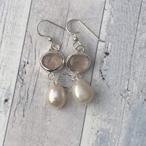 Rose quartz and pearl drop earrings 2