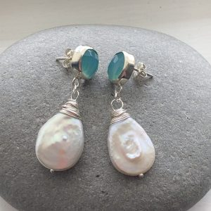Aqua chalcedony and pearl earrings 1