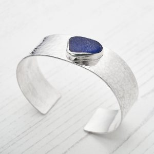 Sea glass and sterling silver cuff bracelet 4