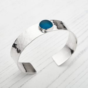 Sea glass and sterling silver cuff bracelet 1