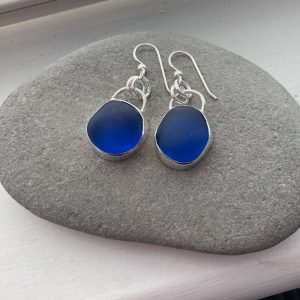Blue Sea glass earrings 1