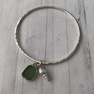 Sterling silver bangle with sea glass charm 10