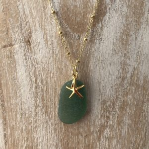 Green sea glass necklace 6