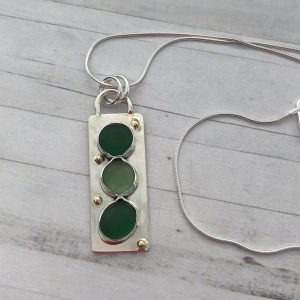 Natural Green sea glass and silver necklace with 9ct gold dots 2