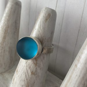 Handmade Turquoise Sea glass ring 13