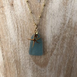 Pale blue sea glass necklace 6