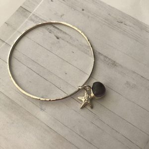 Sterling silver bangle with sea glass charm 11