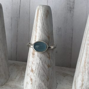 Aquamarine and silver ring 3