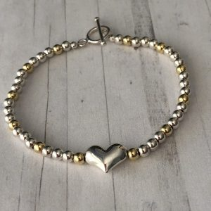 Silver and gold fill heart bracelet 7