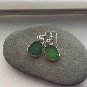 Green Sea glass earrings 7