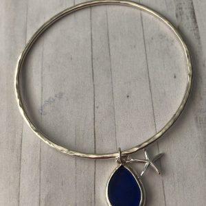 Sterling silver bangle with sea glass charm 9
