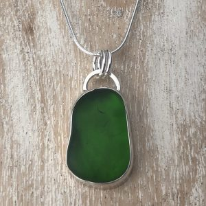 Green sea glass pendant 16