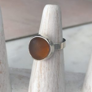 Handmade Amber Sea glass ring 8