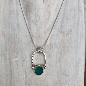Natural Teal Green sea glass and silver necklace 1