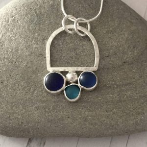 Natural  Blue sea glass and silver necklace 4