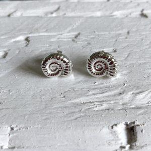 Silver ammonite stud earrings 1