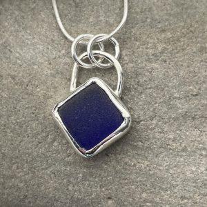 Cobalt blue sea glass pendant 4