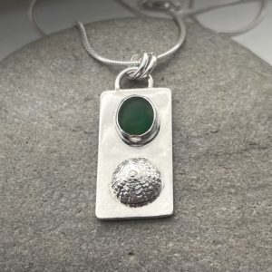 Natural Green sea glass and silver sea urchin necklace 3