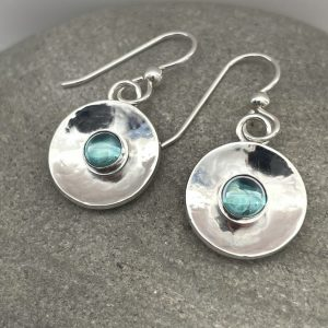 Rainbow topaz and silver circle earrings 4