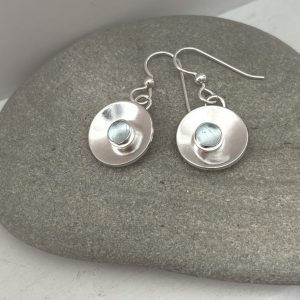 Blue topaz and silver circle earrings 3