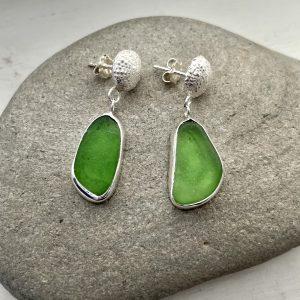 Green Sea glass earrings 8