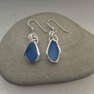 Cornflower blue Sea glass earrings 4