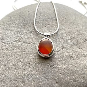 Orange sea glass pendant 8