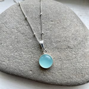 Aqua chalcedony silver necklace 7