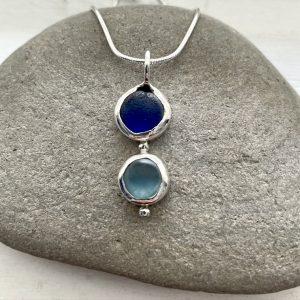 Blue sea glass pendant 9