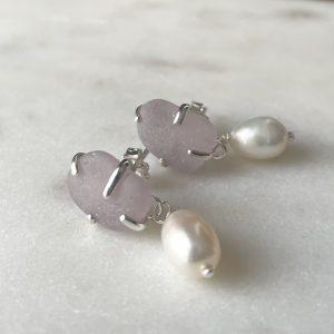 Lavender sea glass and pearl stud earrings 4