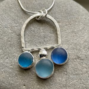 Natural  Blue sea glass and silver necklace 7