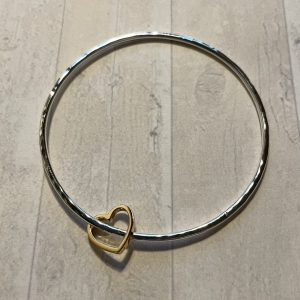 Silver bangle with gold heart 6
